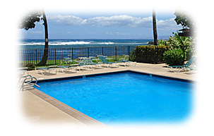 Pool View from our Condo in Maalaea on Maui, Hawaii for rent